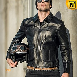 CWMALLS - Cleveland Custom Black Leather Motorcycle Jacket CW809037 | CWMALLS.COM