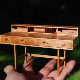 Forest City Woodworks - Mid Century Modern Miniature Lovig Desk  1:12 scale