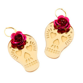 Dia de los Muertos - Flower Skull Earrings Gold-Tone