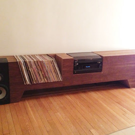 Cush Design Studio - Cardboard and Walnut Record Player Console