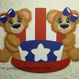 Luulla - Cutie Tear Bear on Independence Day Hat Paper Piecing by Patty