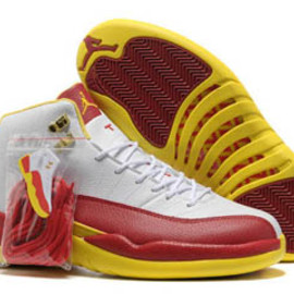 Men's Jordan Number 12 Retro Leather Shoes Fire Red/White/Tour Yellow