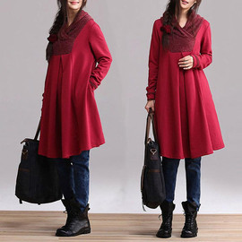 etsy - Red cotton long-sleeved pullover sweater dress type A word / casual jacket winter dresses