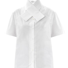 CARVEN - Cross-collar cotton shirt