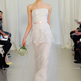 angel sanchez 2014 bridal strapless wedding dress tulle overlay petal bodice blush pink sash