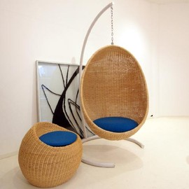 wicker Easy Chair + Ottoman