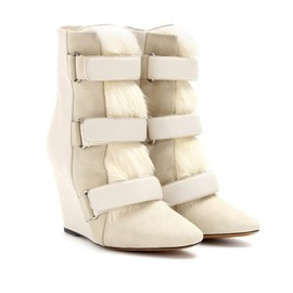 Isabel Marant - PIERCE LEATHER AND FUR WEDGE BOOTS