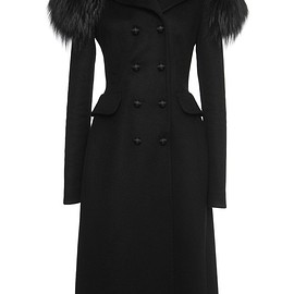 DOLCE&GABBANA - FW2015 Black Cashmere Coat With Fox Collar
