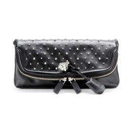 Alexander McQueen - SKULL PADLOCK EMBELLISHED LEATHER CLUTCH