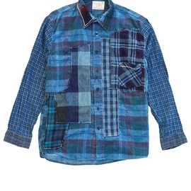 Porter Classic - ONEOFF CUSTOM FLANNEL SHIRTS - BLUE (L) SPECIAL EDITION