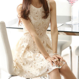 fashion - [grzxy6601084]Sleeveless Beige Bodycon Lace Skater Dress Ruffled Skirt Tunique