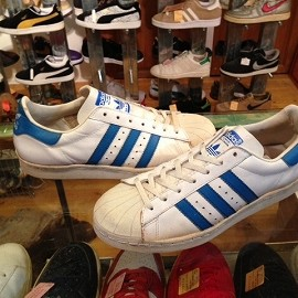 "adidas - 「<used>80's SUPERSTAR white/light blue""made in FRANCE"" size:GB8/h(27cm) 35800yen」完売"