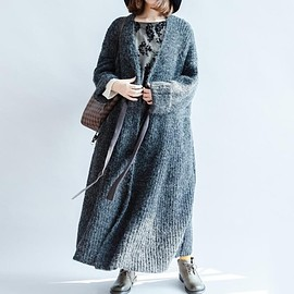 sweater - Women maxi coat sweater, Waist tie long sweater coat, casual cardigan button less coat