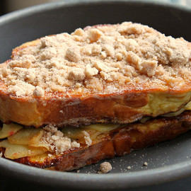 Challah French Toast with Sauteed Apples and Coffee Cake Cinnamon Crumble