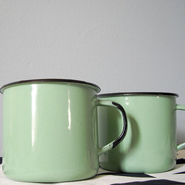 Vintage enamel cup pair in mint aqua - set of two mugs