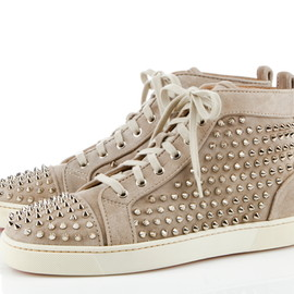 Christian Louboutin - Studded Louis sneakers in taupe suede