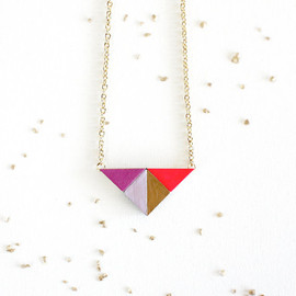 SOFTGOLDSTUDIO - TRIANGLE PUZZLE PENDANT / geometric purple, gold & neon pink triangle necklace made from wood tangram shapes on long gold chain