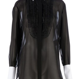 VALENTINO - contrasting collar sheer shirt