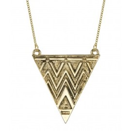 HOUSE OF HARLOW 1960 - Antiqued Tribal Triangle Necklace