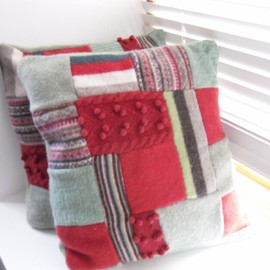 Luulla - Recycled Cushion Throw pillow patchwork Green / Red hand sewn felted cover