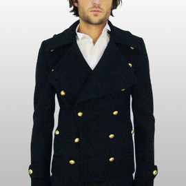 BALENCIAGA - Pea Coat with gold buttons