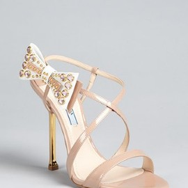 PRADA - Prada nude patent leather bow detail strappy sandals