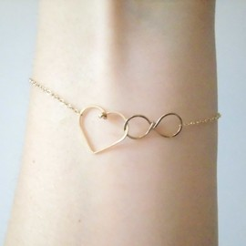 infinite love gold filled bracelet - 無限 ハート \^^/ ブレスレット