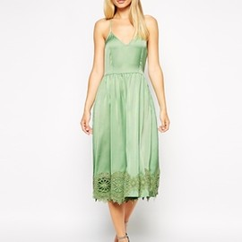 ASOS - ASOS Strappy Midi Skater Dress with Lace Inserts