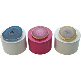 Times Two Design - Round Lacquered Box with Agate
