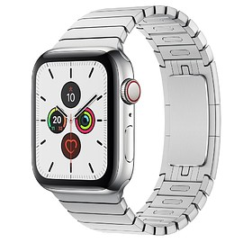 Apple - Apple Watch Series 5 (44mm Stainless Steel Case with Stainless Steel Link Bracelet)