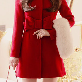 coat - Image of [grzxy6600365]European Style Elegant Bowknot Red Coat