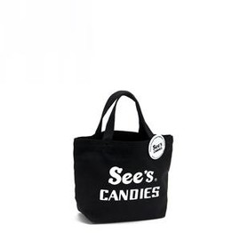 See's CANDIES - トートバッグ(S)オリジナル缶バッジ付 Black