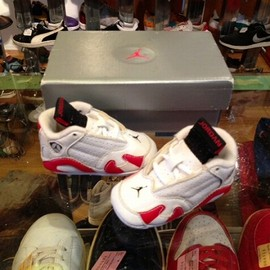 NIKE - 「<deadstock>90's NIKE FIRST JORDAN 14 white/red/black W/BOX size:8cm 2500yen」完売