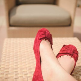 UGG - RED bow/suede ballet flat