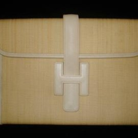 Hermes - Auth Hermes Jige Canvas & White Leather Clutch Bag
