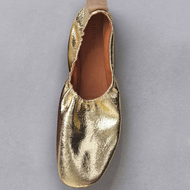 CELINE - SOFT BALLERINA IN GOLD METALLIC SUEDE CALFSKIN