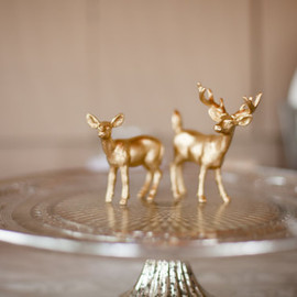 WillowBoutique on Etsy - Golden Deer Cake Topper Figurines