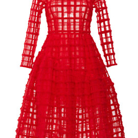 SIMONE ROCHA - Red Brushed Wool Check Long Sleeve Dress