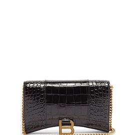 BALENCIAGA - Hourglass mini croc-effect leather cross-body bag