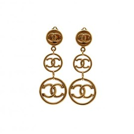 CHANEL - VINTAGE CC LONG EARRINGS