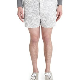 BLACK FLEECE BY Brooks Brothers - Paisley Belted Shorts Grey-White