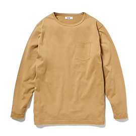 HEAD PORTER PLUS - POCKET L/S TEE BEIGE