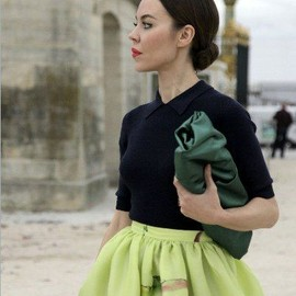 style icon - Ulyana Sergeenco. Ballerina Bun, Voluminous Sorbet Green Skirt