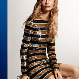 Michael Kors - Michael Kors Awning Stripe Sequined Stretch-Tulle Dress
