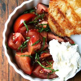 Alexandra's Kitchen - Tomato Salad with Homemade Ricotta and Grilled Bread