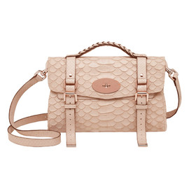 Mulberry - Alexa in Pebbled Beige Large Silky Snake Print
