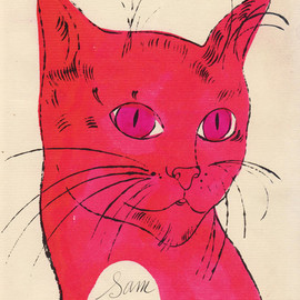 Andy Warhol - Orange Sam with Pink Eyes