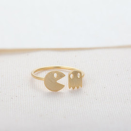 CreaMellow - Pac-Man and Ghost Ring - Gold