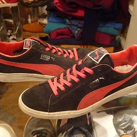 """PUMA - 「<used>80s PUMA INVADER SUEDE LO black/red""""made in TAIWAN"""" size:US10/h(29-29.5cm) 13800yen」完売"""