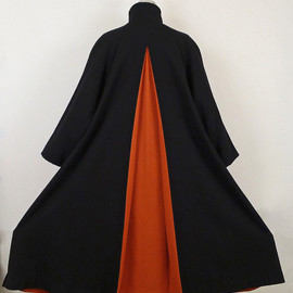 Yohji Yamamoto - black/orange wool cape coat